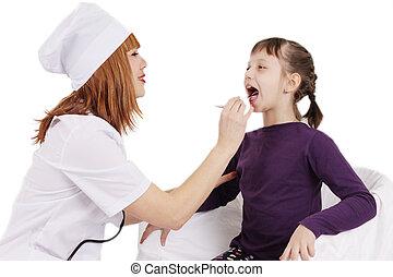 病人, 醫生, 檢查, 在上方, 年輕, 咽喉, 白色, 女孩