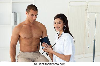 病人, 醫生, 檢查, 壓力, 血液, 微笑
