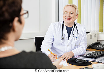 病人, 醫生, 看, 女性, 書桌, 男性