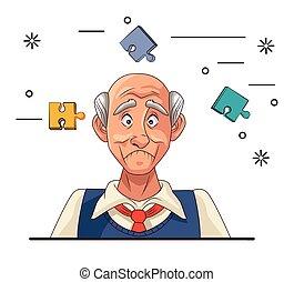 病人, alzheimer, 疾病, 人, 難題 片斷, 老