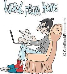 病毒, 安全, 停留家庭, 工作, 人, 卡通, 是, 光環, 插圖, 矢量