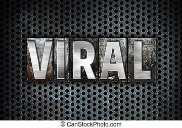 病毒, 概念, 金屬, letterpress, 類型