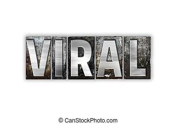 病毒, 概念, letterpress, 金屬, 被隔离, 類型
