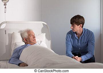 病気, おじいさん, 孫, 訪問