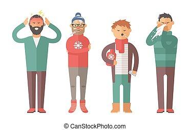 病気, インフルエンザ, 人々, 感じ, 寒い, そして, 吹く, 彼の, 鼻, ベクトル, illustration.