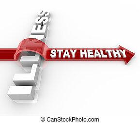 病気, 健康, 上に, -, 滞在, 跳躍, 言葉