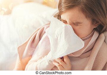 病気, 女の子, カバー, 彼女, 鼻, ∥で∥, ペーパー, serviette