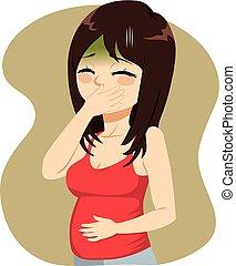 病気, 妊娠した, 朝