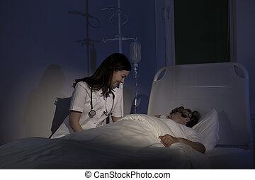 病気, 心配, 患者, terminally