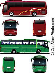 病気, 観光客, ベクトル, citybus., coach.