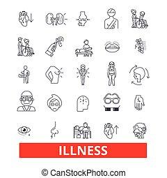 病症, 疾病, 疾病, 疾病, 不舒服, 不健康, 故障, 線, icons., editable, strokes., 套間, 設計, 矢量, 插圖, 符號, concept., 線性, 簽署, 被隔离, 在懷特上, 背景