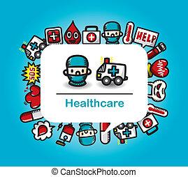 病院, カード, 医学