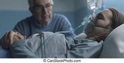 病院, シニア, 彼女, 人, 援助, 娘