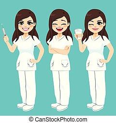 病院, セット, 看護婦