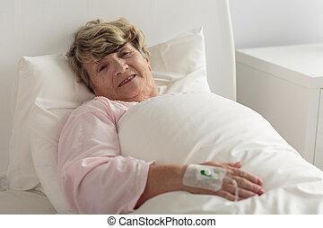病院, 女, あること, ベッド