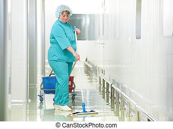 病院, 女, 清掃, ホール