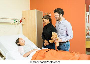 病院, 娘, おもちゃ, 父, 病気, 母, 寄付