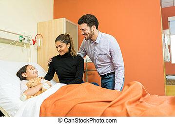 病院, 娘, 父, 病気, 母