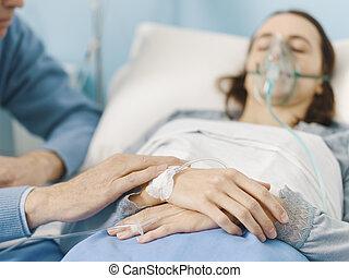病院, 援助, 彼女, 病気, 父, 娘