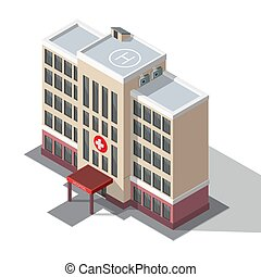 病院, 救急車, 建物。