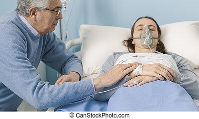 病院, 病気, 彼女, 援助, 娘, 父
