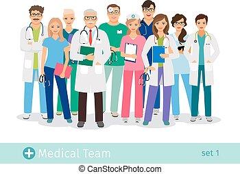 病院, 白, 隔離された, 背景, チーム