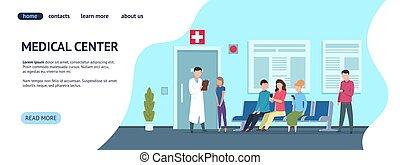 病院, 網, 患者, 中心, 医者, 医学, 診断, 着陸, ページ, ベクトル, concept., template.