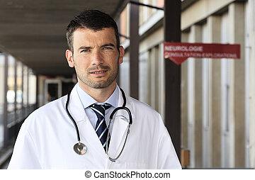 病院, 聴診器, 若い, ホール, 医者