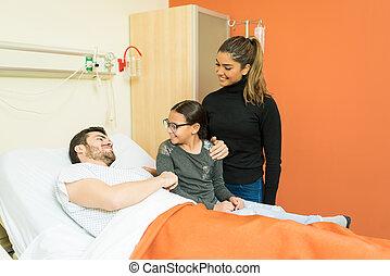 病院, 訪問, 患者, 家族