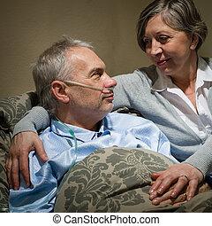 病, 老人, 躺, 床, 由于, 妻子