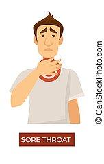 症狀, 流感, coronavirus, 喉痛, 過敏, 或者
