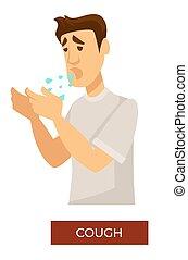 症狀, coronavirus, 呼吸, 疾病, 過敏, 咳嗽, 或者