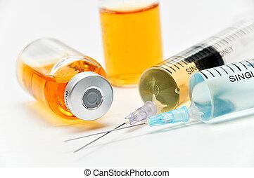 痘苗, 由于, 皮下 注射器, 以及, 針