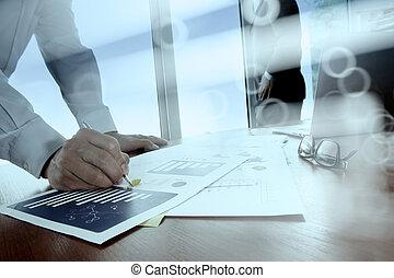 痛みなさい, タブレット, デジタル, 同僚, ビジネス, データ, 背景, 論じる, オフィス, コンピュータ, 電話, テーブル, 2, 文書, ラップトップ