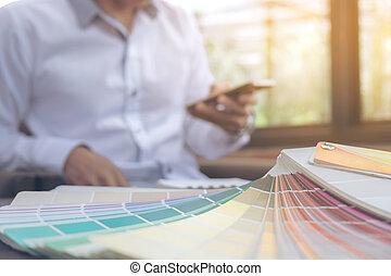 痛みなさい, 創造性, グラフィックス, 木製である, 仕事場, グラフィック, 机, スタイル, デザイナー, 色, 電話, ラップトップ, チャート, 仕事, 創造的, 考え, タブレット, 概念