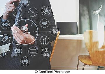 痛みなさい, 医者, 仕事, ∥で∥, 痛みなさい, 電話, そして, デジタルタブレット, そして, ラップトップ・コンピュータ, そして, 聴診器, 中に, 現代, オフィス, ∥において∥, 病院, ∥で∥, 事実上, デジタル, グラフィック, アイコン
