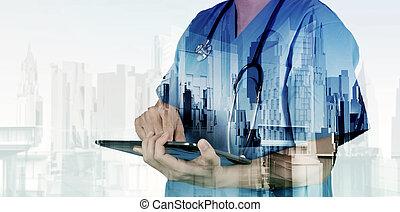 痛みなさい, 医者, 仕事, ダブル, 抽象的, さらされること, 医学, ci