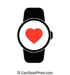 痛みなさい, 印, アイコン, 腕時計, 黒, ベクトル