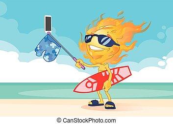 痛みなさい, 把握, 浜, 火, 頭, 太陽, 夏, 男の子, 電話, selfie, サーフボード, 取得, ...