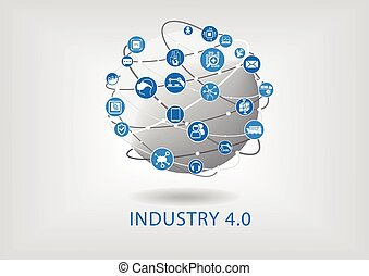 痛みなさい, 産業, 4.0, 装置, 接続される, globe., infographic.
