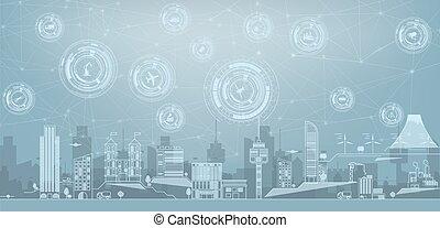 痛みなさい, 色, iot, 建物, 別, 現代, インターネット, elements., バックグラウンド。, アイコン, もの, 線, 都市の景観, 薄くなりなさい, skyscrapers., 都市, 都市, 大きい, パノラマ, 概念