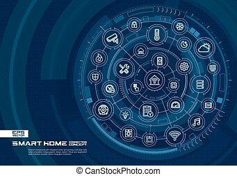 痛みなさい, 連結しなさい, バックグラウンド。, システム, 家, インテグレイテド, 円, 白熱, 薄くなりなさい, デジタル, 線, 抽象的, 技術, icons.