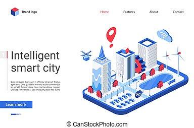 痛みなさい, 都市の景観, ウェブサイト, デザイン, 建物, イラスト, インターフェイス, 下部組織, オートメーション, 都市, 現代, オフィス, ベクトル, 3d, 等大, 未来派