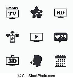 痛みなさい, tv, モード, icon., 3d, テレビ, シンボル。