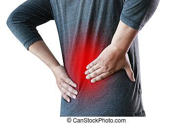 痛み, 背中, 苦しみ, より低い, 感じ, 救助, 人, 概念, 若い