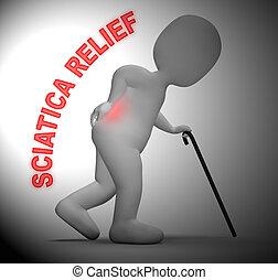 痛み, 背骨, レンダリング, 意味, 救助, 坐骨神経痛, 緩和, 3d