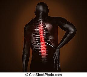 痛み, 黒, デジタル, 背中, 人