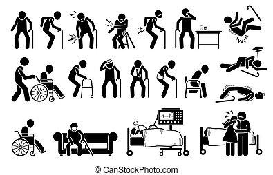 痛み, pain., 傷つけられる, 体, 人, 古い, 接合箇所