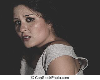 痛苦, 以及, 懼怕, 年輕, 黑發淺黑膚色女子, 濫用, 所作, 她, 丈夫, 概念, psy