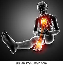 痛苦, 在, 腿